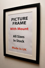 Thin Black Picture Frame with Mount,Choice of Ivory,Black or White Mount