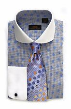 Dress Shirt by Steven Land Spread Collar  Rounded French Cuff-Blue-DW1600-BL