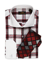 Dress Shirt by Steven Land Spread Collar  Single Link Cuffs-Red/White-DW500-RD