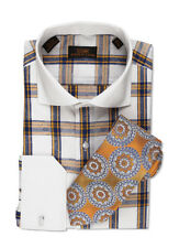 Dress Shirt by Steven Land Spread Collar Single Link Cuffs-Orange/White-DW500-YE