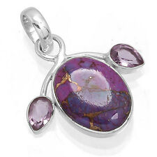 Copper Purple Turquoise 925 Solid Sterling Silver Stylish Pendant EX90086
