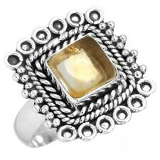 Natural Citrine Gemstone Unique Jewelry 925 Sterling Silver Ring Size 8 EX63961