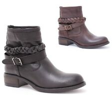 booties biker boots ankle womens' real leather black tdm made in ITALY