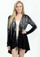 Vocal Colorful Crystals Cross Black Tunic Western Cardigan Sweater S-M-L-XL