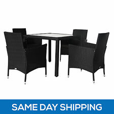 5pc PE Wicker Dining Table Chair Set Outdoor Furniture Garden Patio Pool Setting