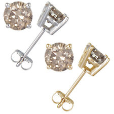 Sterling Silver Champagne Diamond Stud Earrings (0.15 CT)