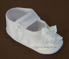 New Baby Girls White Christening Baptism Dedication Booties Dress Shoes  0 1 2 P