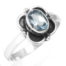 Blue Topaz Gemstone Women Jewelry 925 Solid Sterling Silver Ring Size 7 EX52211