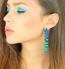 Kristin Perry Bermuda Blue Chandelier Earrings Made with Swarovski Crystals