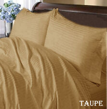 800 TC Taupe Striped-Duvet/Fitted/Sheet Set/Pillow Egyptian Cotton All Size