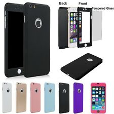 iPhone5 6 6Plus 360 Full Body Front+Back Hybrid ShockProof Case + Tempered Glass