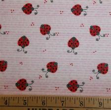 Ladybugs Pink Strip Fabric Traditions Flannel Fabric Yards BTY Ladybird OOP