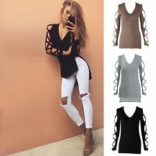 Hot Fashion Womens Long Sleeve Hollow Casual Blouse Loose Cotton Tops T Shirt