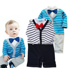 Kids Long Sleeve Bow Tie Gentle Romper Outfit Clothes Boy Suit Baby Clothing F7