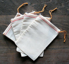 Cotton Muslin Bags with Red Hem and Orange Drawstrings – 5 Sizes of bags