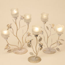 WEDDING TEA LIGHT STAND DECORATIVE GOLD/WHITE HOLDER TABLE CENTREPIECE