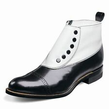 Stacy Adams Mens Madison Black White Leather Spat Buttons Side Zipper Dress Boot