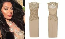 CELEB NUDE GOLD SPARKLE SLINKY BACKLESS MIDI EVENING PARTY COCKTAIL DRESS 6 -18
