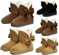 Womens Faux Suede Fur Martin Snow Boots Flats Winter Warm Ankle Boots Shoes