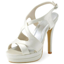 EP2080-PF Peep Toe High Heels Platform Sandals Strap Satin Wedding Party Shoes