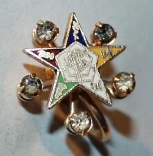 Vintage Order of the Eastern Star Jewelry Earrings -  Gold Filled & Clear Stones