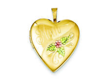 120 Gold Filled Enameled Mom Heart Locket Necklace Chain Included