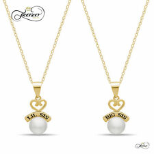 Sister Heart Necklace Set for Big Sis Lil Sis, 925 Silver, 14K Gold Plated Neckl