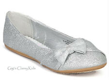 New Girls Toddler Youth Kids Silver Glitter Shoes Flats Mary Jane Pageant Party
