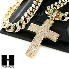 "Hip Hop 14k Gold Plated 2Pac Cross PAVE Pendant 30"" Iced Out Cuban Link Chain N1"