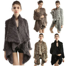 Women Real Rabbit Fur Shawl Coats Jackets Outerwear Knitted New Fashion 6 Colors