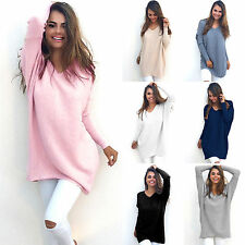 Womens Long Sleeve Casual Pullover Sweater Shirt Loose Long Blouse Jumper Tops