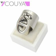Women's Rings Size 6-11 Silver Punk Width Rings With Oval-Shaped Button Present