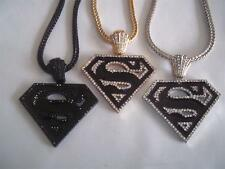 "Superman Iced Out Hip Hop Pendant W/36"" Franco Snake Chain-3 Color Choices"