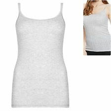 M&S 2 Pack sz 16 20 Thermal Pointelle Strappy Camisole Tops Vests Grey Marl New