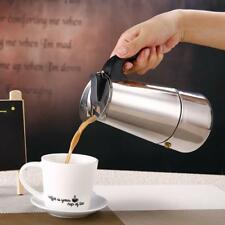 2/4/6/9 Cups Stovetop Espresso Coffee Maker Pot Stainless Steel Silver