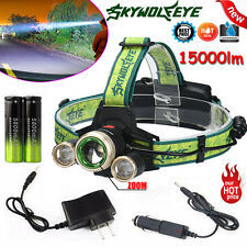 15000lm Headlamp CREE XM-L 3x T6 LED Rechargeable Headlight Tactical Torches Lot