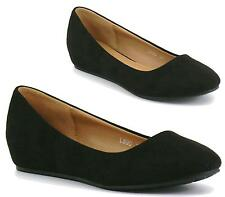 Womens Plain Low Concealed Heel Wedge Slip On Pumps Court Shoes Office Work 3-8