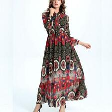 NEW Women Tropical Boho Floral Dress Chiffon Maxi Summer Beach Long Dresses