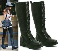 WOMENS LADIES COMBAT ARMY MILITARY LACE UP LOW HEEL KNEE HIGH BOOTS SHOES SIZE