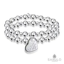 Sarulo 925 Sterling Silver Beaded Bracelet Jewellery Solid Fashion Gift Charm