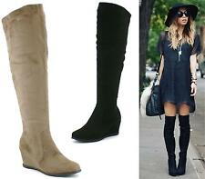 WOMENS LADIES LOW WEDGE HEEL DESIGNER WEDGES WINTER OVER THE KNEE HIGH BOOTS