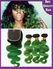 300g Green Ombre Remy Human Hair Weave with Lace Top Closure Body Wave 2017 New