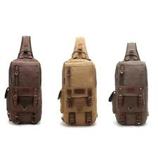 Men's Vintage Casual Canvas Messenger Hiking Pack Chest Bag Small Shoulder Bags