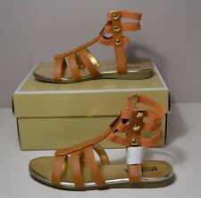 NIB GIRLS MICHAEL KORS DEMI CODIE COGNAC LEATHER GLADIATOR SANDALS SZ 13C 1Y