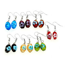 FREE wholesale lot Flower Round murano glass bead Silver Plated earrings Jewelry