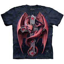 GOTHIC GUARDIAN Red Dragon T-Shirt The Mountain Cross Fantasy Mens Sizes S-5XL