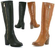 WOMENS BLACK BLOCK HEEL MID CALF KNEE HIGH FASHION RIDING BOOTS ZIP UP SHOES 3-8