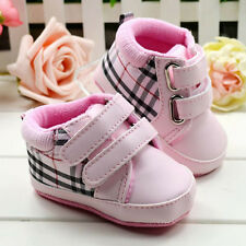 Baby Girl pink Crib Shoes Soft Sole Sneakers Size 0-6 6-12 12-18 Months