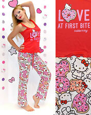 "NWT Sanrio Hello Kitty ""LOVE at First Bite"" Pajama Set with cookies print S,M,L"