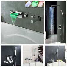 Bathroom Tub Filler Shower Faucet Tap Waterfall Spout Wall Mounted New Modern